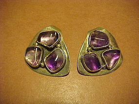 ARIZONA MODERNIST H. FRED SKAGGS AMETHYST EARRINGS