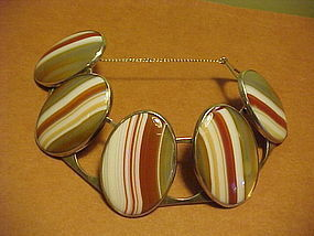 BENT KNUDSEN DENMARK STERLING STRIPED AGATE BRACELET