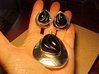BURLE MARX CARVED ONYX STERLING PENDANT AND EARRINGS