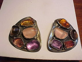 MODERNIST H. FRED SKAGGS STERLING MULTI STONE EARRINGS