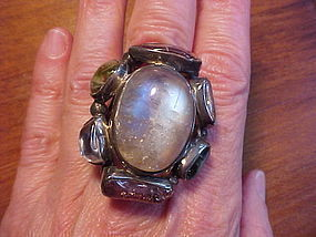 MODERNIST H. FRED SKAGGS STERLING MULTI STONE RING
