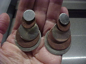 HECTOR AGUILAR SILVER AND COPPER DISCS EARRINGS