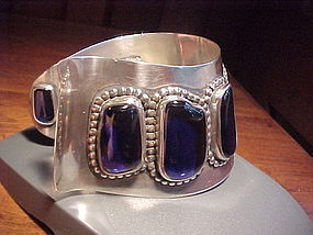 MODERNIST H. FRED SKAGGS STERLING BLUE STONE CUFF