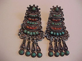 """EARLY MATILDE POULAT """"MATL"""" STERLING CORAL TURQUOISE EARRINGS"""