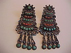 "EARLY MATILDE POULAT ""MATL"" STERLING CORAL TURQUOISE EARRINGS"