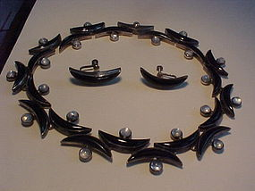 ANTONIO PINEDA SILVER ONYX MOONSTONE NECKLACE AND EARRINGS