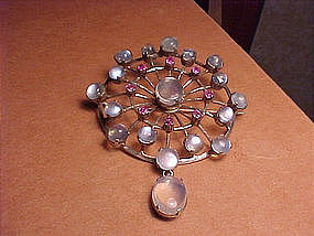 LARGE 1940'S MOONSTONE RUBY HANDMADE PIN