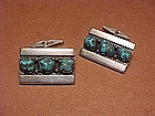 FRANK PATANIA SR. STERLING TURQUOISE CUFF LINKS