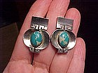 SPECIAL UNIQUE ANTONIO PINEDA SILVER TURQUOISE EARRINGS