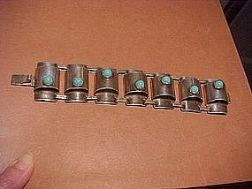 FRED DAVIS STYLE MEXICAN SILVER BRACELET W/TURQUOISE