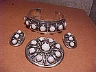 CAMELO PATANIA WHITE CORAL BRACELET,PIN,EARRINGS