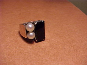 JANIYE JAPAN STERLING ONYX PEARL RING
