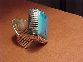 NAVAJO GIBSON NEZ STERLING TURQUOISE RING