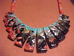SAN FELIPE  CHARLENE REANO  TWO SIDED MOSAIC NECKLACE