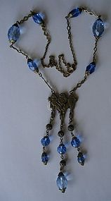 Antique German Czech Faceted Bead Necklace ~Heraldic