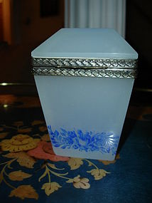 Antique Opaline Glass Box or Vanity Jar Ormolu Fittings