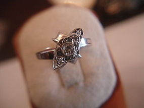 Art Deco 14K White Gold Diamond Ring ~ Estate 2.9dwt