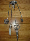Victorian Sterling Silver Sewing Chatelaine 13 Inches