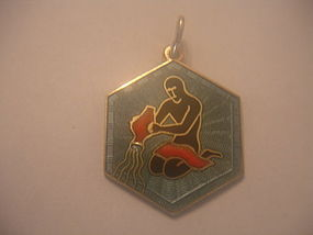 David Andersen Norway Sterling Enamel Charm Aquarius