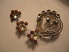 Fabulous HUGE Austrian Crystal SAHPIRET Glass Brooch