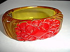 Vintage Carved Applejuice  Red Bakelite Bangle Bracelet