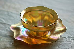 Tiffany Studios Favrile glass bowl & underplate C:1910