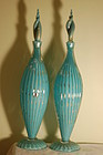 Alfredo Barbini pair Murano glass bottles decanters C:1950
