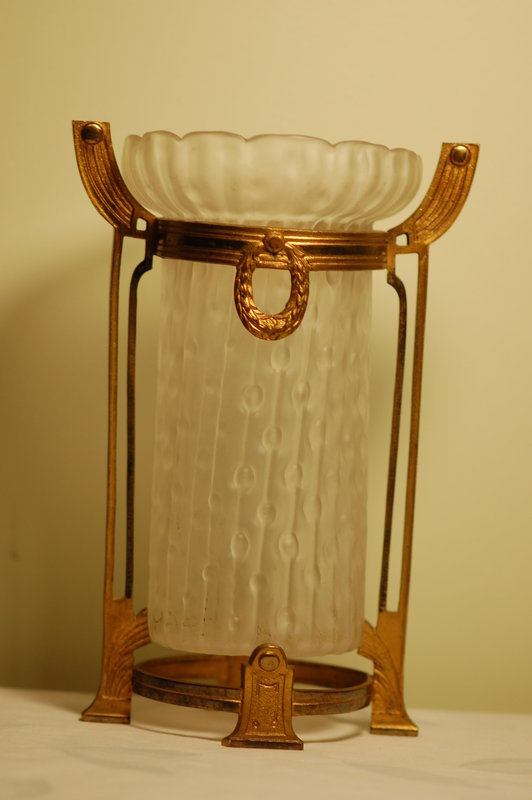 Kralik Bohemian glass vase on stand C:1900