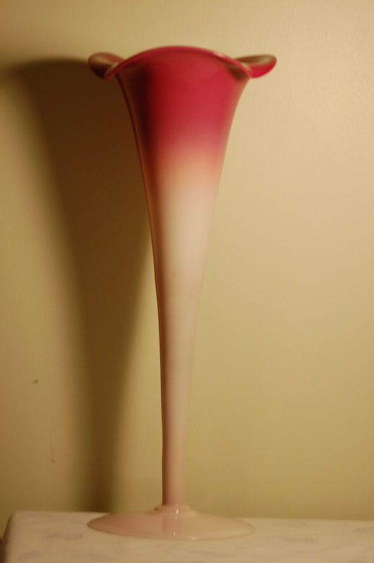 New England Peachblow / Peach Blow glass monumental-sized vase C:1890