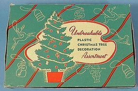 10 Vintage Hard Plastic Christmas Decorations