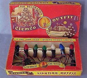 Scarce Old Clemco Christmas Light Set w/Box