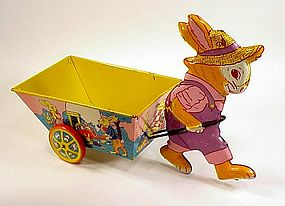 Chein Lithographed Tin Rabbit Cart Easter Toy
