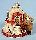 Cotton Santa & Bell House Christmas Ornament