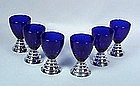 "6 Chase Art Deco ""Blue Moon"" Cocktail Glasses"