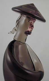 Alfredo Barbini Murano Asian Figure - Signed