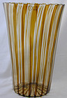 Signed Venini Murano Canne Vase in Straw/Amber