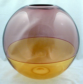 Barbini Murano Incalmo Sphere Bubble Vase