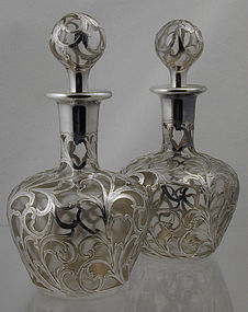 Alvin Sterling Overlay Tall Perfume Bottles