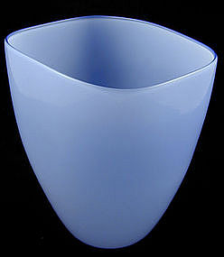 Venini Murano Italia Blue Opalino Vase - Signed