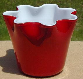 Fratelli Toso Murano Red/White Fazzoletto Vase
