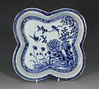 Blue and White Quatrefoil Lobed Dish Qianlong C1750/70