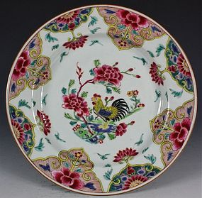 CHINESE FAMILLE ROSE COCKEREL PLATE YONGZHENG 18THC