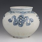 KOREAN BLUE AND WHITE JAR CHOSON 19THC