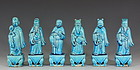 Six Chinese Turquoise Glazed Immortals C19th
