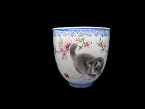 Republic Period Famille Rose Egg Shell Cup, Dated 1929