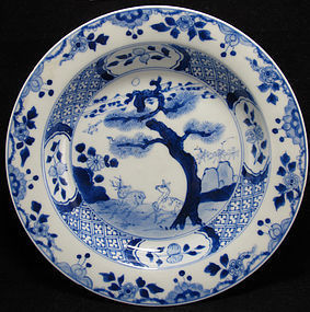18th C YONGZHENG BLUE & WHITE DEER PLATE