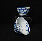 A PAIR OF KANGXI PERIOD BLUE AND WHITE LANDSCAPE CUPS