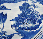19TH C BLUE & WHITE LANDSCAPE PLATE, KANGXI MARK