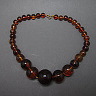 43.1 g ANTIQUE COGNAC BALTIC AMBER BEAD NECKLACE