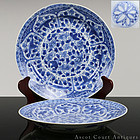 18TH C KANGXI BLUE AND WHITE HIBISCUS FLORAL PLATES